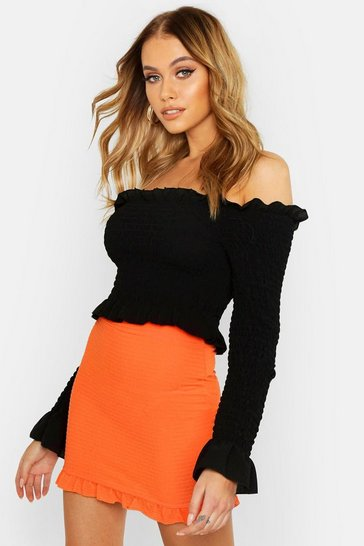Womens Neon-orange Shirred Ruffle Hem Mini Skirt