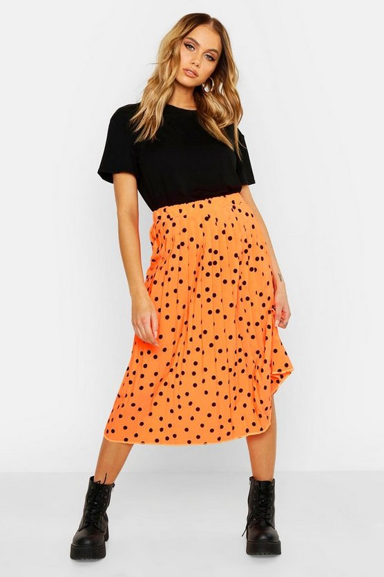 Womens Neon-orange Neon Polka Dot Pleated Midi Skirt