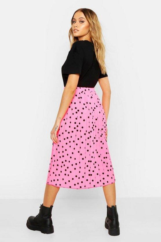 Neon Polka Dot Pleated Midi Skirt