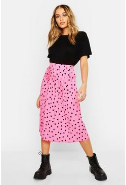 Womens Neon-pink Neon Polka Dot Pleated Midi Skirt