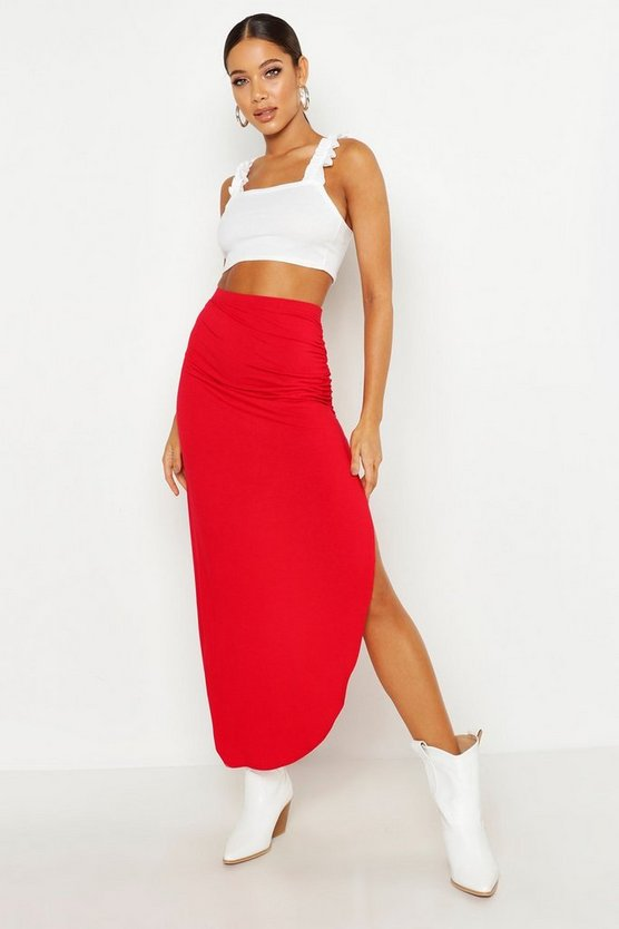 Womens Red Rouched Side Jersey Maxi Skirt