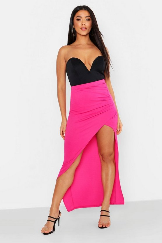 Womens Magenta Rouched Side Wrap Front Maxi Skirt