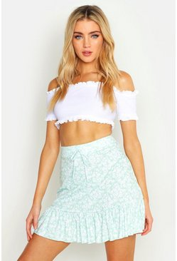 Womens Sage Ditsy Floral Tiered Viscose Mini Skirt