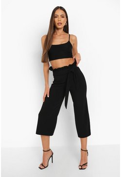 Womens Black Crepe Paperbag Tie Waist Culottes