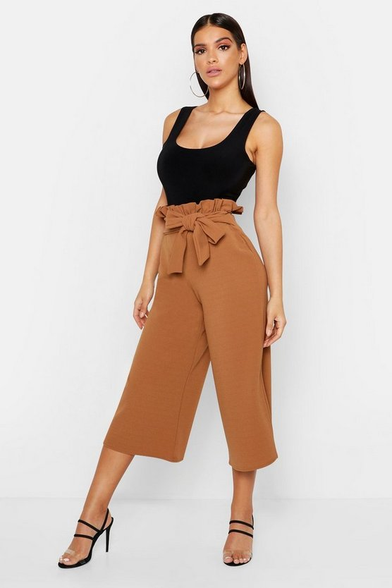 Womens Camel Crepe Paperbag Tie Waist Culottes