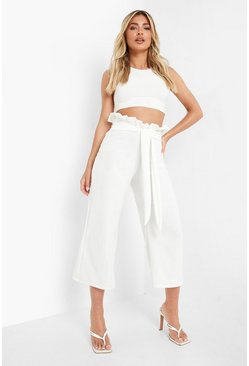Womens Ivory Crepe Paperbag Tie Waist Culottes