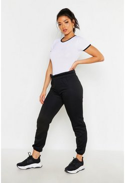 Womens Black Paperbag Waist Sweat Joggers