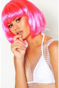 Womens Neon-pink Festival Wig