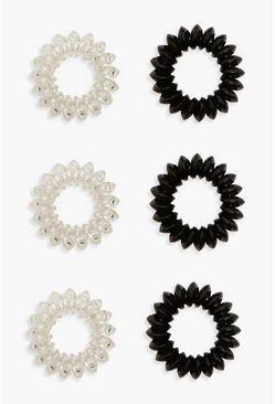 Womens Black Spiral Hair Bobble 6 Pack