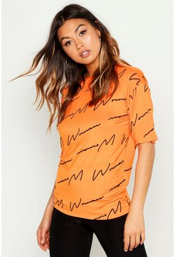 Womens Orange Woman Script Tee