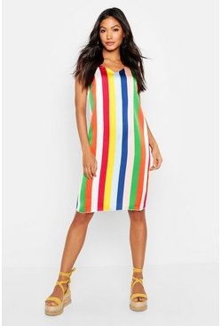 Womens Multi Satin Stripe Slip Dress