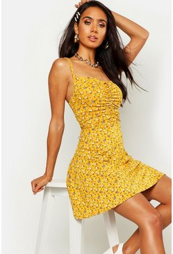 Mustard Ditsy Floral Ruched Front Strappy Skater Dress