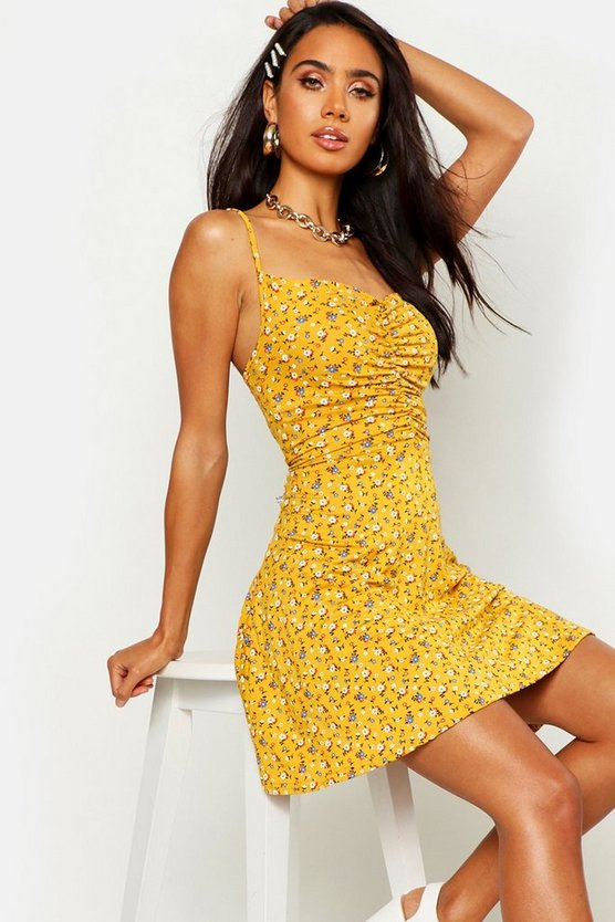 Womens Mustard Floral Ruched Front Strappy Skater Dress