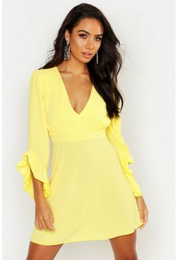 Womens Lemon Woven Ruffle Sleeve V Neck Skater Dress