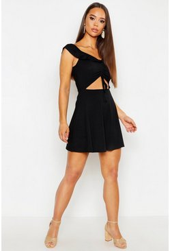 Womens Black Rouched Front Bardot Rib Skater Dress