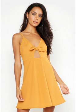 Womens Gold Rib Tie Front Skater Dress