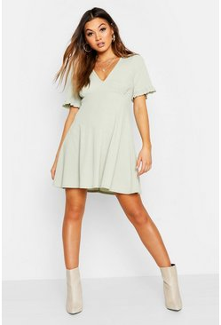 Womens Sage Frill Sleeve V Neck Skater Dress