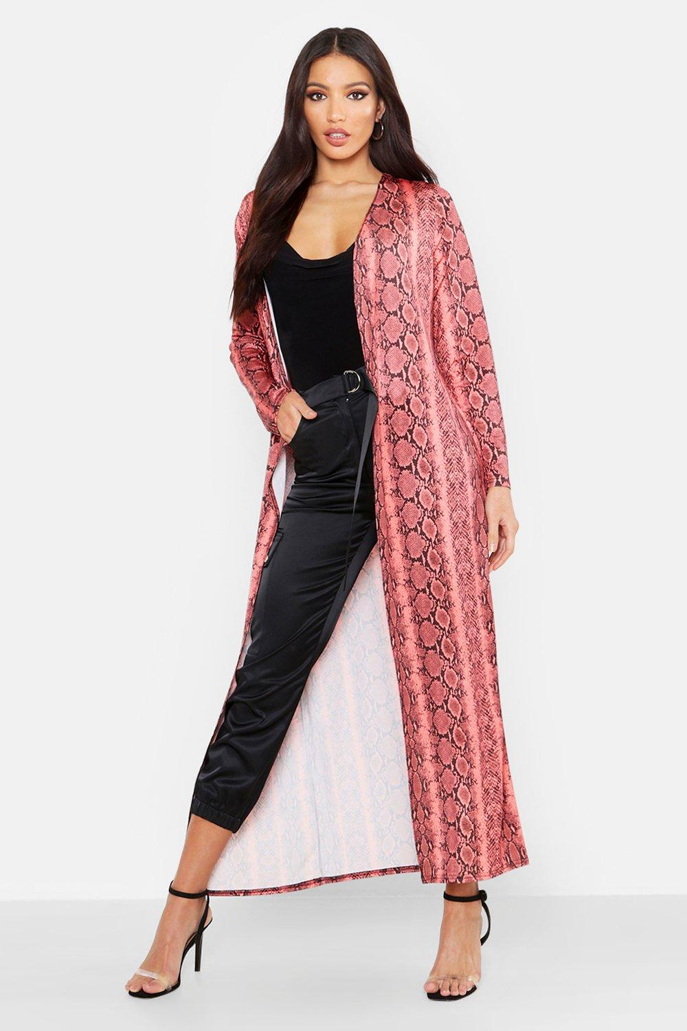 Snake Print Long Length Duster