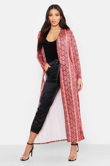 Womens Coral Snake Print Long Length Duster
