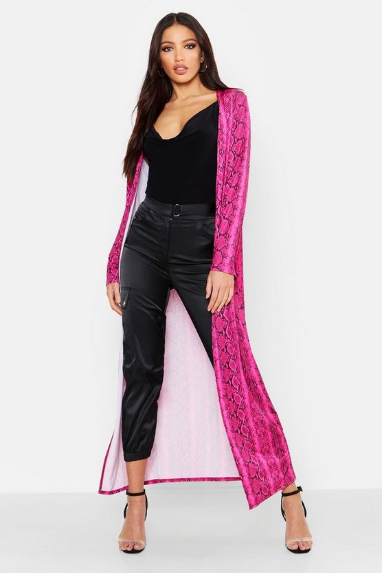 Womens Hot pink Snake Print Long Length Duster