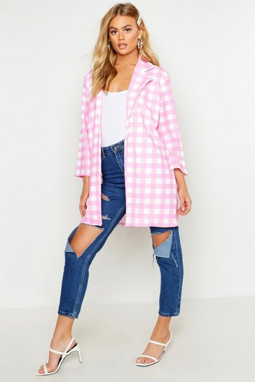 Womens Pink Check Collar Duster