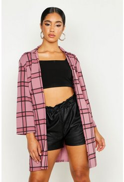 Womens Pink Check Longline Duster