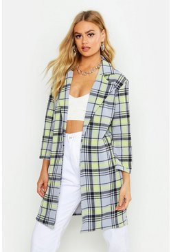 Womens Grey Check Collar Duster