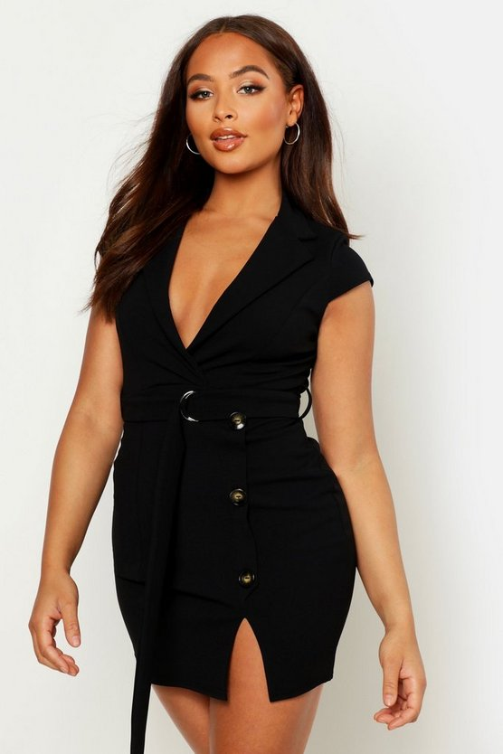 Womens Black Button Detail Belted Wrap Blazer Dress