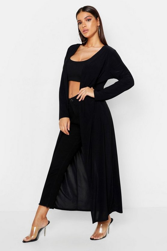 Black Slinky Plain Long Length Duster
