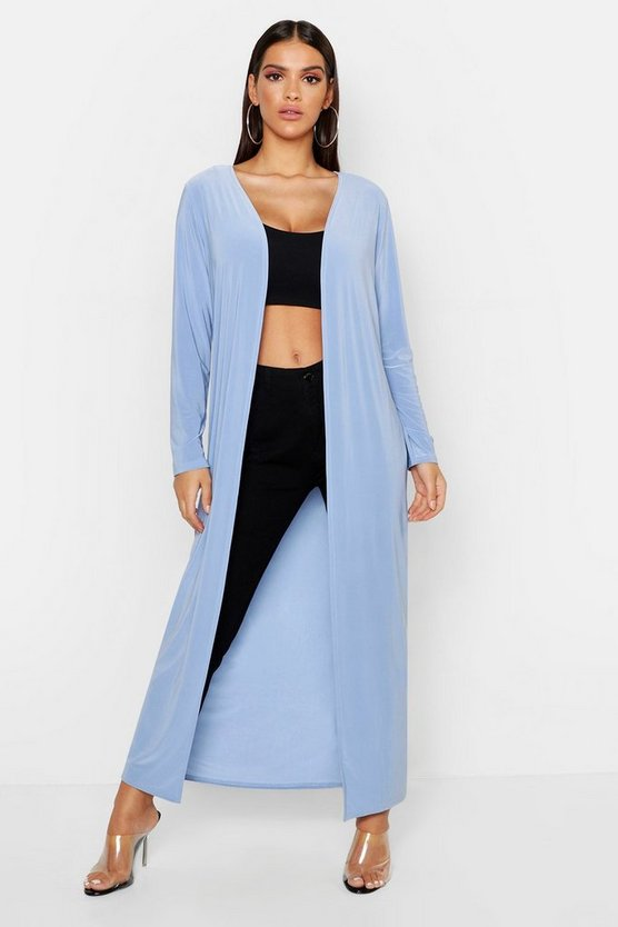 Womens Blue Slinky Plain Long Length Duster