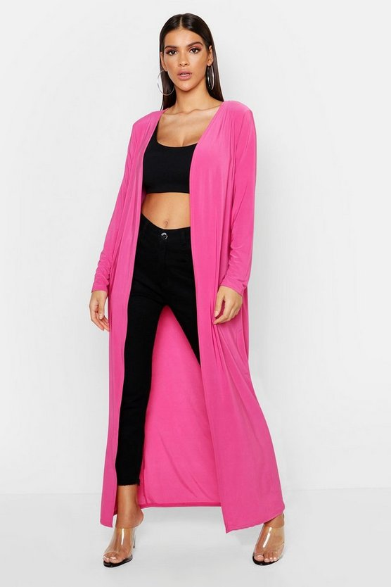 Womens Hot pink Slinky Plain Long Length Duster