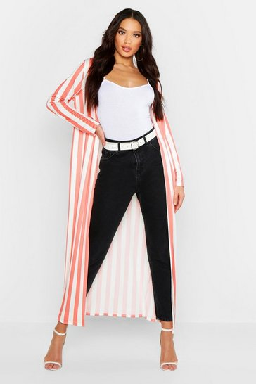 Womens Coral Slinky Stripe Duster Jacket