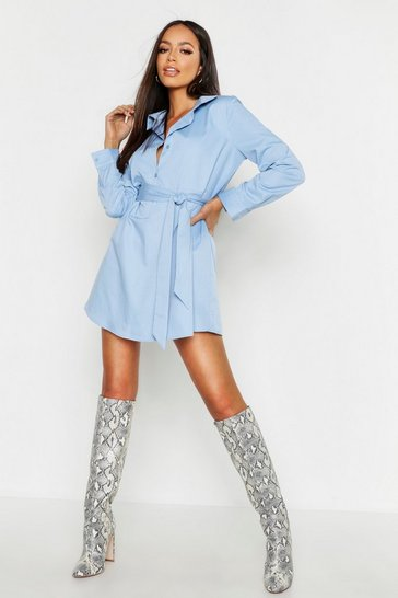 Womens Sky Woven Belted Shirt Dress