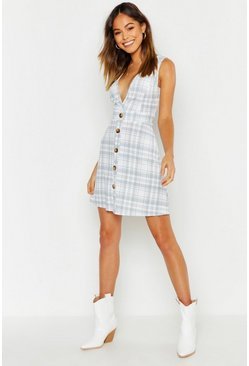 Womens Grey V Neck Button Through Check Pinafore Dress