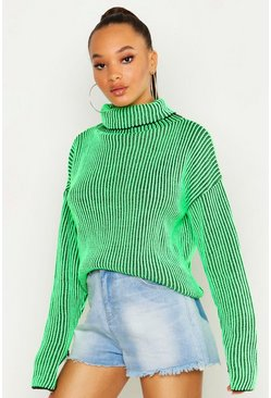 Womens Neon-green Neon Rib Chunky Roll Neck Jumper