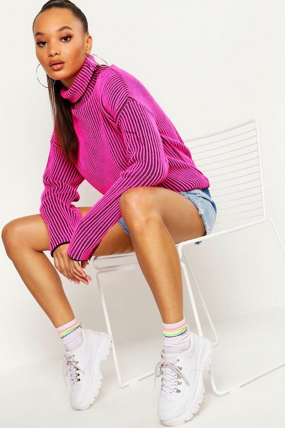 Womens Neon-pink Neon Rib Chunky Roll Neck Jumper