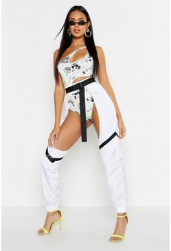 Womens White Buckle Strap Detail Cut Out Chap Trousers