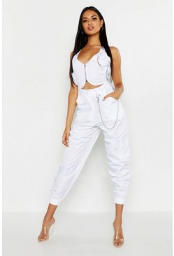 Womens White Patch Pocket Detail Pants
