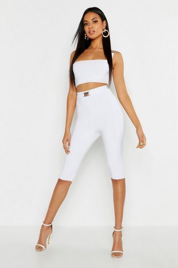 Womens White Buckle Detail Crop and Legging Set
