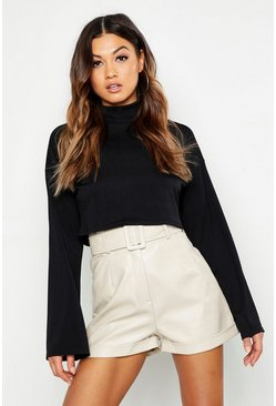 Womens Black Basic Funnel Neck Rib Crop Top