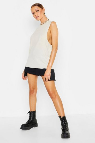 Womens Stone Basic Rib Drop Armhole Vest