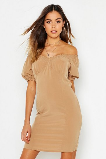 Womens Mocha Off Shoulder Gypsy Dress