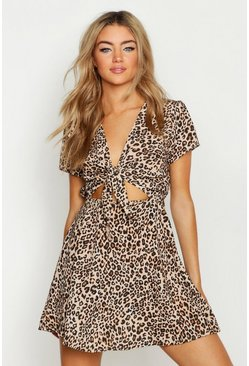 Womens Tie Front Leopard Print Skater Dress