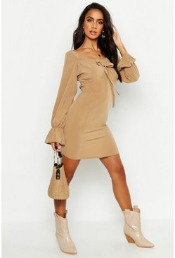 Tan Off Shoulder Long Sleeve Gypsy Style Dress