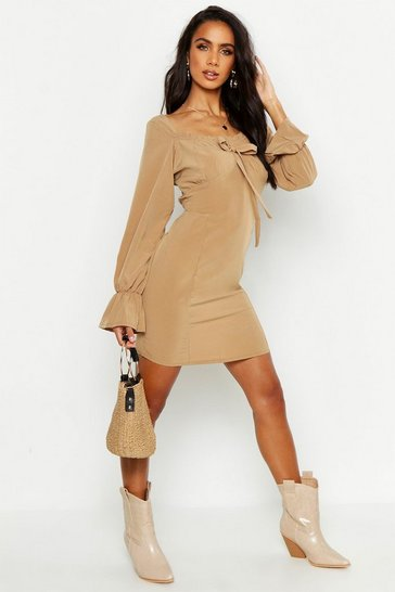 Womens Tan Off Shoulder Long Sleeve Gypsy Style Dress