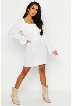 Womens White Off Shoulder Long Sleeve Gypsy Style Dress
