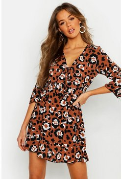 Brown Tie Front Leopard Tea Dress