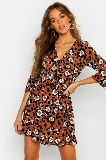 Womens Brown Tie Front Leopard Tea Dress