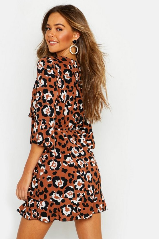 Tie Front Leopard Tea Dress