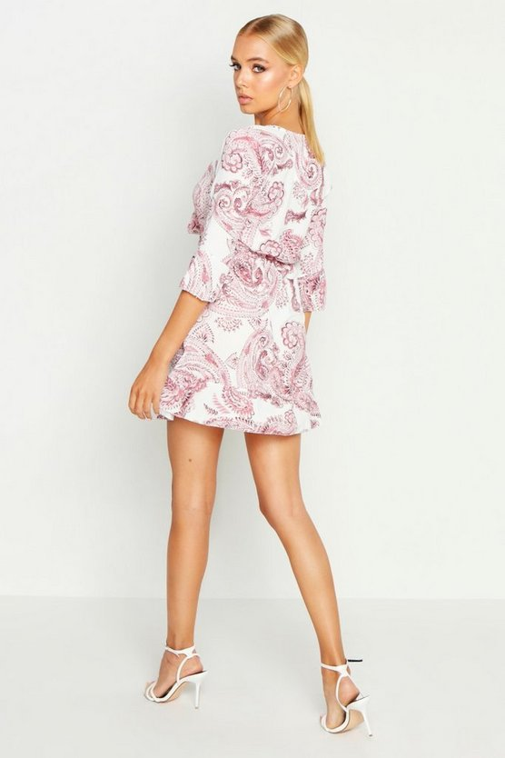 Large Paisley Tie Front Skater Dress